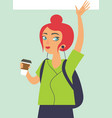 happy girl hipster drinking coffe vector image vector image