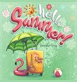 hello summer cartoon background vector image vector image