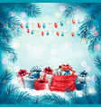 holiday christmas background with sack full vector image vector image