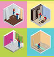 home repair isometric concept set with workers vector image