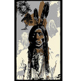 Indian Warrior Sitting Bull portrait - Freehand vector image