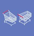 isometric metal supermarket trolley cart vector image vector image