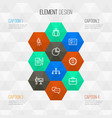 job outline icons set collection of id card vector image vector image