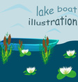 Lake boat plants water cartoon vector image