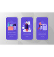 laundry mobile app page onboard screen set vector image vector image