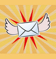 letter with wings in pop art comic style on dot vector image vector image