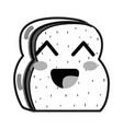 line kawaii cute happy chopped bread vector image vector image