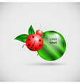 Logo banner with ladybug and leaves vector image vector image