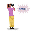 man photographer taking photo with camera african vector image