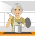mature woman with ladle cooking soup in pan vector image