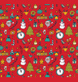 new year christmas objects red seamless pattern vector image