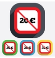 No 20 Euro sign icon EUR currency symbol vector image vector image