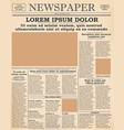 old newspaper front page vector image