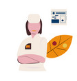 online medical help line icon female doctor is vector image vector image