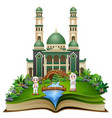 open book with happy muslim kids cartoon in front vector image vector image