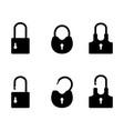 padlock black silhouettes vector image vector image