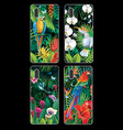 phone case collection with tropical jungle plants vector image