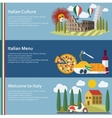 set flat italy web banners vector image