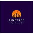 simple sunset pine evergreen fir hemlock spruce vector image