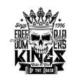 skull in crown t-shirt motorcycle biker club vector image vector image