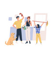 smiling family doing housework together vector image vector image