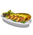smoked mackerel on plate vector image vector image