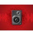 speaker on dot pattern red background vector image