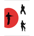 three men are engaged in karate on a white vector image
