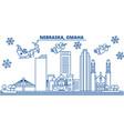 usa nebraska omaha winter city skyline merry vector image vector image