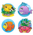 various water animals and fishes 2 vector image