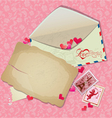 Vintage postcard envelope post stamps paper hearts vector image