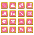 winter clothes icons set pink square vector image