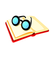 icon book and glasses vector image