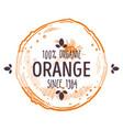 100 percent organic orange label with whole ripe vector image vector image