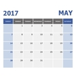 2017 May calendar week starts on Sunday vector image vector image