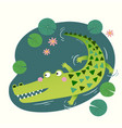 a cute crocodile in pond vector image vector image