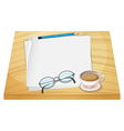 A table with empty papers a pencil an eyeglass and vector image