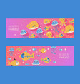 aquarium banners with fish jellyfish octopus and vector image vector image