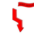 arrow red down sign hand drawn sketch vector image vector image