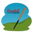 baseball sport bat icon vector image vector image