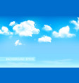 blue sky background with fluffy or cumulus clouds vector image