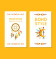 boho style cards collection dreamcatcher with vector image