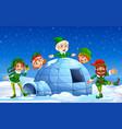 christmas elf in winter background vector image vector image