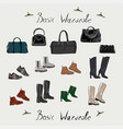 clothes footwear shoes and bags fashion vector image vector image