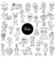 comic kids characters black and white set vector image vector image