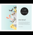 Cute animal family background with Cats 2 vector image vector image