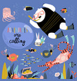 cute cartoon animals swimming underwater vector image