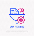 data filtering infornation through funnel icon vector image