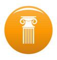 decorative column icon orange vector image vector image