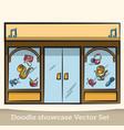 doodle showcase music store set vector image